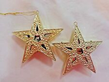 Star Ornaments Set of 2 Gold Plastic Cut Outs Christmas Decor