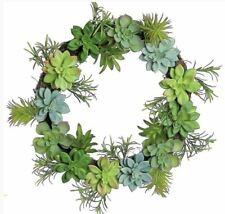 "Succulent Wreath, 18"", Artificial, Door Decor, Floral, Arrangement,"