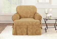 Matelasse Damask One Piece Slipcovers  Chair t-cushion Gold sure fit