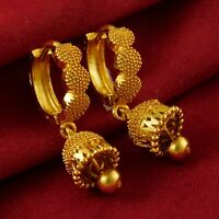 18K Traditional Hoop Earrings Bridal Goldplated Drop/Dangle Fashion Jewelry