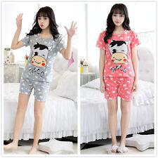 Cartoon Cow Head Women Sleepwear Pajama Set Nightwear SleepShirt & Shorts M-2XL