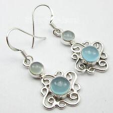 3.9 CM FETISH Earrings !! 925 Pure Silver AQUA CHALCEDONY 2 Gemstone ART Jewelry