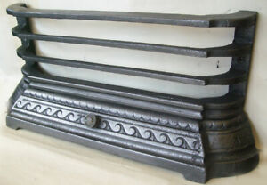 """Antique Fireplace Spares Original 18"""" Tiled Inset Front Bars & Ash Pan Cover"""