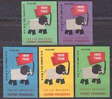 POLAND 1968 Matchbox Label - Cat.Z#831 set 160 years, National Monetary Lottery.