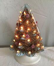 "Vintage Lighted Ceramic Christmas Tree Hand Painted W/Spanish Moss 9"" Light Blue"