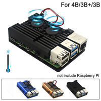 4/4B Raspberry Pi Case with Dual Cooling Fan Aluminium Alloy ProtectCase for RPI