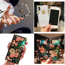 Flower Square Phone Case For iPhone X XS Max XR 6 7 8 Samsung S8 S9 Plus Note 9