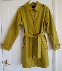 Etage Mustard Yellow Mac Raincoat with Pockets & Waist Tie EU 38 UK 12