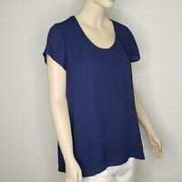 Rosie Pope Blue Layered Short Sleeve Blouse Womens Large Pip & Vine