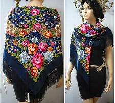 """Russian Ukrainian Gypsy Shawl Floral w/Fringes 49""""/125cm  Blue  80%Wool NWT #98i"""