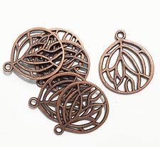 Bulk 50 pcs of Antique copper plated pendant 27x22mm, Red bronze pendant