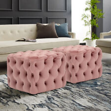 ⭐ NEW  LARGE  FOOTSTOOL BUTTONED  LINEN BEIGE COLOUR MAHOGANY FEET