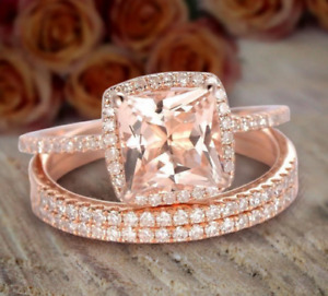 2 CT Morganite & Diamond Trio Set, Engagement & Wedding Ring 14KT Rose Gold FN
