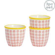 Flower Plant Pot Ceramic Porcelain Indoor Outdoor Garden - Red / Yellow Swirl x3