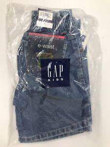 Gap Kids Boys E-Waist Zip Fly Antiqued Hot Stonewash Jean Shorts Size 4 Elastic