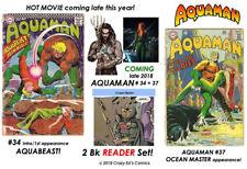 AQUAMAN # 34 + 37 (2 Book reader set) Classic CARDY Art! OCEAN MASTER in Movie!