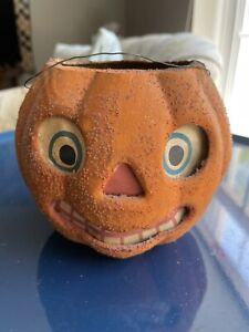 "Antique Paper Mache Halloween Jack-O-lantern Pumpkin Rare Sparkling Bumps 4 1/4"""