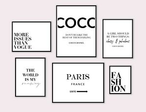 Set of 6 Coco Chanel Quote Poster Prints Gallery Wall Fashion Art Home Decor