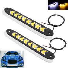 2x 8 LED COB Car Strip DRL Daytime Running Light Fog Lamp White Amber Indicator