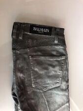 Balmain Metallic %100 Leather Ribbed Slim Pants Size 31