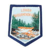 Vintage Embroidered Felt Patch Lower Tahquamenon Falls Michigan Blue Landscape