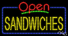 """NEW """"OPEN SANDWICHES"""" 32x17 SOLID/ANIMATED LED SIGN W/CUSTOM OPTIONS 25438"""