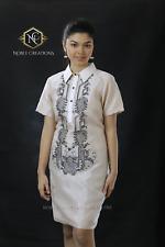 Filipiniana Embroidered Barong Silk Dress Philippines Terno Maria Clara - Beige