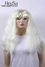 Perruque Femmes longue blanc Raie au milieu Frange ondulés Carnaval Carnaval Ha