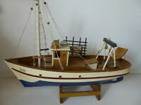 "Handmade Wooden Model - 18"" Trawler Fishing Boat Ship on Stand"