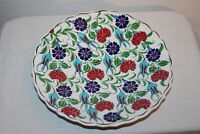 Vintage Turkish Greek Pottery Bowl Multi Color Flowers Hand Made Signed