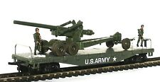 HO SCALE MODEL POWER US ARMY MILITARY FLAT W/ LONG TOM GUN AND 2 FIGURES NEW