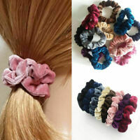 Women Large Stripe Velvet Scrunchie Ponytail Holder Hair Elastic Tail Wrap G4L4