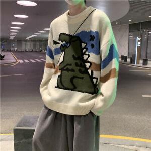 Men Boy Knitted Cardigan Cartoon Dinosaur Printed Sweater Pullover Jumper