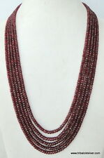 Micro faceted Ruby Gemstones beads strand necklace Ind