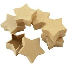 SET 10 STAR SHAPE PAPER MACHE CRAFT GIFT BOXES & LIDS FOR DECORATION DECOUPAGE