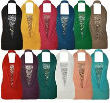 New Ladies Plus Size Ruched Sequins Halter Neck Top 8-16