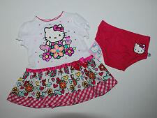 Kleid~HELLO KITTY~50-56~2 tlg.Sommerkleid~Katze~Babykleid~Blumen~Kleidchen~weiss