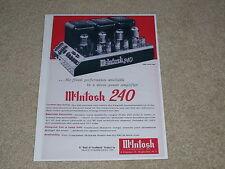 McIntosh 240 Tube Amp Ad, 1961, 1 pg, Frame This!