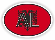 OVAL FLAG WITH AL ALBANIA COUNTRY CODE STICKER CAR MOTOCYCLE AUTO TRUCK