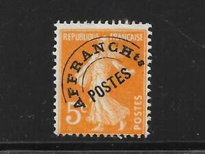 FRANCE 1921 5c orange Sower Pre-cancelled vf no gum SG 380