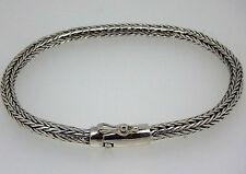 "Solid Silver Bali Snake Chain 925 Sterling Silver Bracelet 8.2"" 4 mm 18 gms #C79"