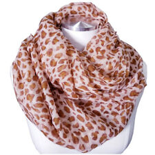 Women Summer Animal Leopard Pattern Scarf with Strips Border Details