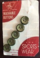 "VINTAGE 5 BUTTONS 1/2"" LA CHIC ORIGINAL CARD GREEN FOR SPORTS WEAR USA"