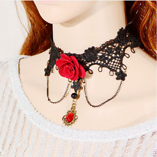 Red rose Gothic Women Black Lace Necklace Chain Tassel Choker Necklace Vintage