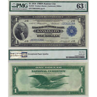 $1 1918 FRBN Kansas City Fr#737 PMG Certfied Choice Uncirculated 63 EPQ