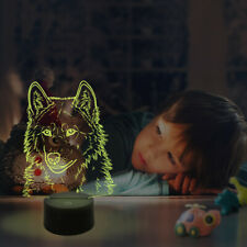 3D Wolf Lamp,Wolf Night Light, LED Illusion Table Beside Lamps with 16 Colors
