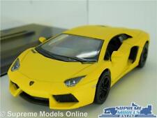 LAMORGHINI AVENTADOR LP700 MODEL CAR 1:38 SCALE MATT YELLOW + CASE KINSMART K8