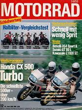Motorrad 12 1981 Benelli 354 Honda CX500 Turbo Kawasaki GPZ1100 ST Suzuki GT80L