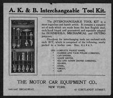 Motor Car Equipment NY handbill ad A K & B Interchangeable Tool Kit 1900s