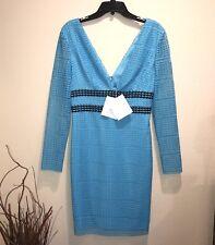 NWT Diane Von Furstenberg Viera Lace V-Neck Aztec Blue Long Sleeve Dress Sz 4